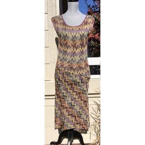 Missoni Dresses - MISSONI VINTAGE MULTI-COLOR CHEVRON KNIT DRESS